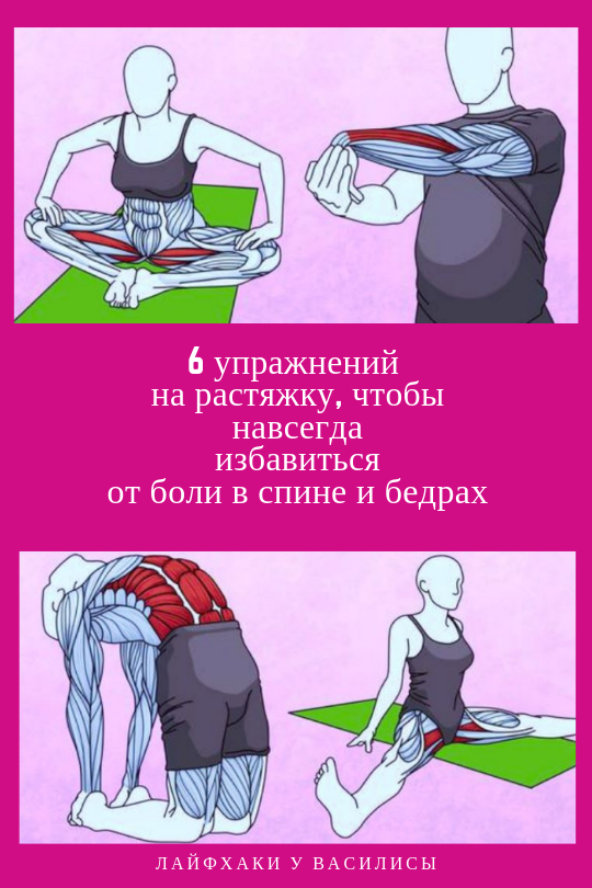 """6 упражнений на растяжку, чтобы навсегда избавиться от боли в спине и бедрах.""""Пока попа не болит - приключения не заканчиваются"""""""
