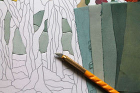 «Осенний лес»: картина в технике пэчворк без иглы своими руками