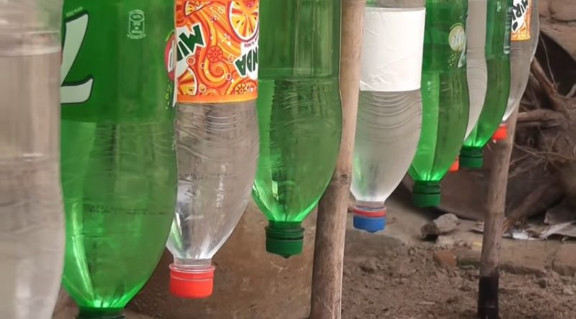 Очень простая капельная система полива из пластиковых бутылок