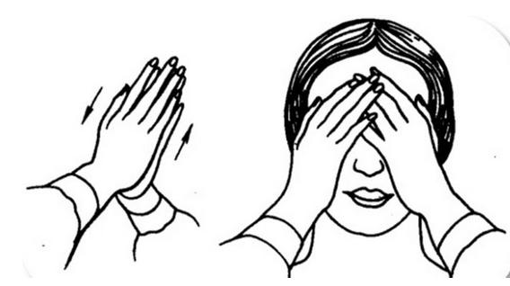 Handfläche für die Augen. In einer Woche werden Sie die Gläser durch schwächere ersetzen …